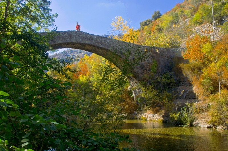 Pont moutonnier en pierre à Navacelles